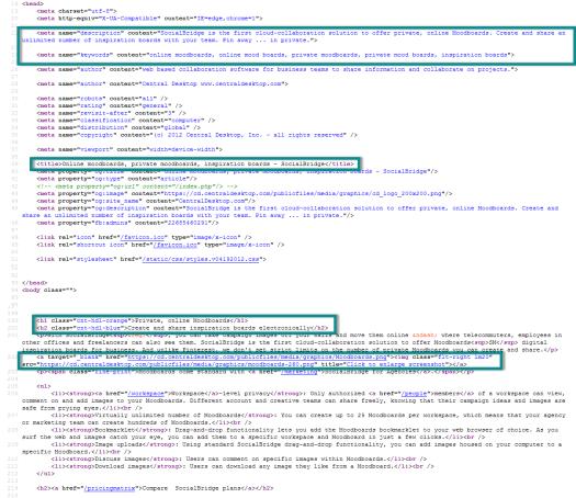 SEO optimizatin on web page