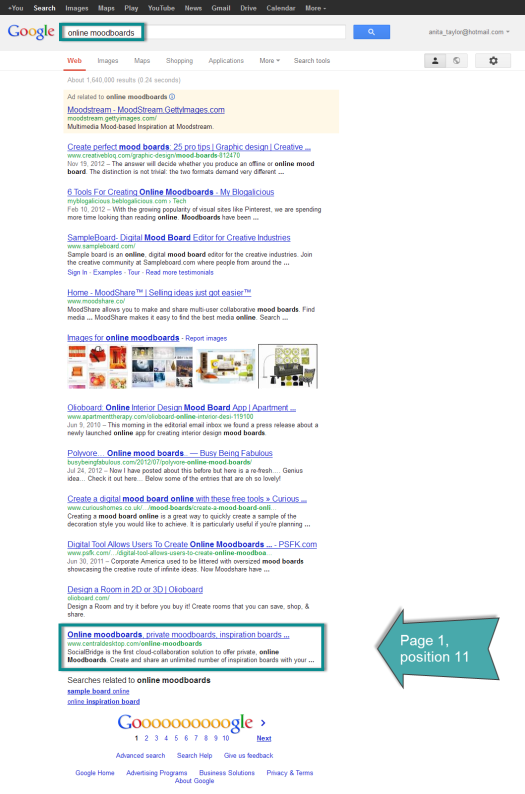 SERPs for online moodboards