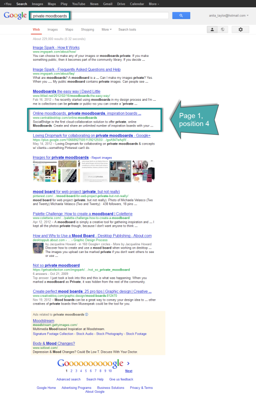 SERP for private moodboards